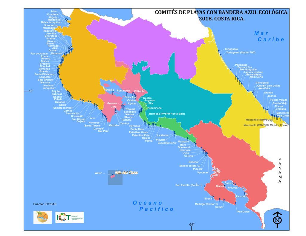 Mapa De Costa Rica Playas.Conozca Las Playas Mas Limpias Y Seguras De Costa Rica En
